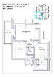 Plan tehnic etaj 1, ap. 14