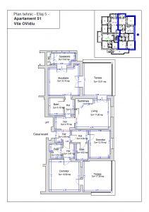 Plan tehnic etaj 5, ap. 51