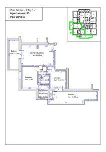 Plan tehnic etaj 5, ap. 53